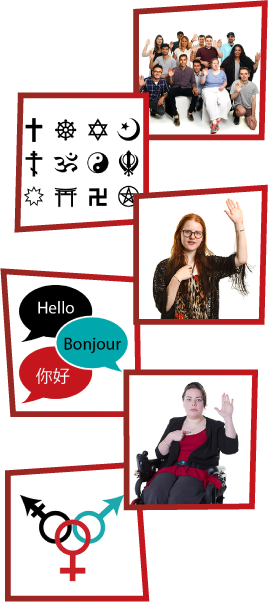 A montage of 6 images. The first is a group of people standing together and waving. The second is a group of icons representing different religions. The third is a girl with one hand raised and the other on her chest. The fourth is 3 speech bubbles, saying hello in English, French and Japanese. The fifth is a woman in a wheelchair with one hand raised and the other on her chest. The fifth is icons for male, female and non-binary genders.