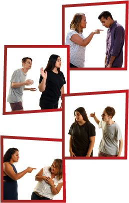A montage of 4 images. The first is a woman getting angry and pointing at a young man, who is looking down. The second is a man trying to talk to a girl, but she is facing the other way and not listening. The third is a man yelling and raising his hand to a girl who is looking away. The fourth is a woman threatening another woman, who looks scared.