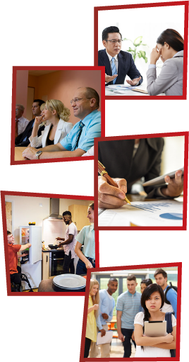A montage of 5 images. The first is a man and a woman having a meeting at work. The second is a group of staff members having a meeting. The third is a person at work writing something down. The fourth is 3 young people in a kitchen. The fifth is a group of young people laughing and pointing at another girl, who is standing alone.
