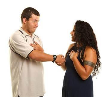 A man and a woman introducing themselves to each other