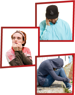 A montage of 3 images. The first is a man looking sad with his hand on his head. The second is a woman looking scared. The third is a woman sitting on the ground with her head on her knees, covering her face