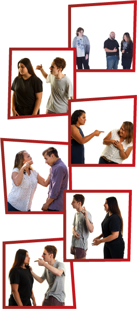 A montage of 6 images. The first is a man and woman standing together and laughing while another woman is standing alone, looking upset. The second is a man yelling and raising his hand to a girl, who is looking away. The third is a woman threatening another woman, who looks scared. The fourth is a woman threatening to hurt a young man. The fifth is a girl trying to talk to a young man, but he isn't listening. The sixth is a man yelling and pointing at a girl.