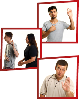A montage of 3 images. The first is a man with one hand raised and the other pointing at himself. The second is a girl trying to talk to a young man, but he isn't listening. The third is a man holding a hand out to say stop.