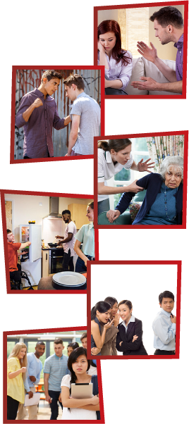 A montage of 6 images. The first is a man getting angry at a woman, who is looking down. The second is a young man with a fist clenched, threatening to hit another man. The third is a support worker looking frustrated and grabbing an older woman by the arm. The fourth is 3 young people in a kitchen together. The fifth is a group of women talking about a man behind his back. The sixth is a group of young people talking and pointing at a girl who looks upset.