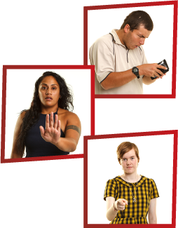 A montage of 3 images. The first is a man looking stressed, looking in his wallet. The second is a woman holding out her hand to say stop. The third is a girl pointing at the camera to say you.