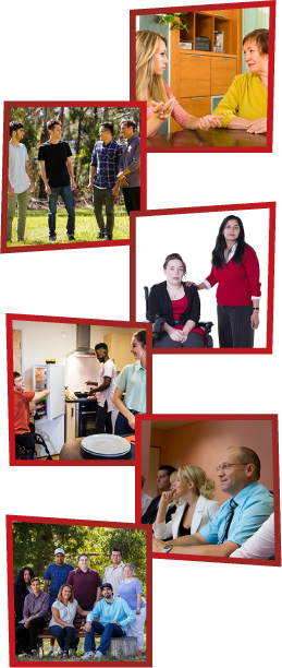 A montage of 6 images. The first is a girl and an older woman sitting together and talking. The second is a group of young men standing together outside and talking. The third is a woman with her hand on the shoulder of another woman in a wheelchair. The fourth is 3 young people in a kitchen. The fifth is a group of staff members having a meeting at work. The sixth is a group of people sitting together outside.