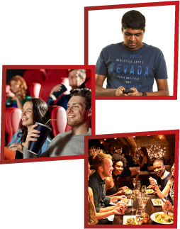 A montage of 3 images. The first is a young man looking at his phone. The second is a man and a woman watching a movie in the cinemas. The third is a group of young people having dinner in a restaurant.