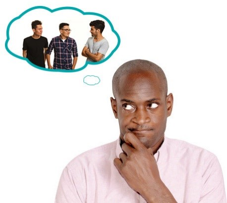 A man in a thinking pose with a thought bubble with his friends in it