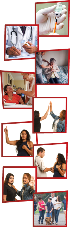 A montage of 9 images. The first is a doctor getting a syringe ready. The second is a doctor writing something down. The third is a support worker helping a woman get dressed. The fourth is a woman helping another woman eat a meal. The fifth is 2 women high-fiving. The sixth is a woman with one hand raised and the other pointing at herself. The seventh is a man and a woman introducing themselves to each other. The eighth is a woman supporting a girl and putting her hand out to say stop. The ninth is a family walking their dog down the street.