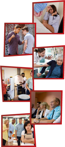 A montage of 6 images. The first is a woman on the ground, shielding herself while a man is clenching his fist in front of her. The second is a man threatening to punch another man. The third is a support worker getting frustrated and grabbing an older woman by the arm. The fourth is 3 young people together in a kitchen. The fifth is a group of staff members having a meeting. The sixth is a group of young people laughing and pointing at another girl, who is standing alone.