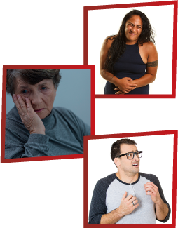 A montage of 3 images. The first is a woman clutching her stomach in pain. The second is an older woman looking sad with her hand on her face. The third is a man who looks scared.