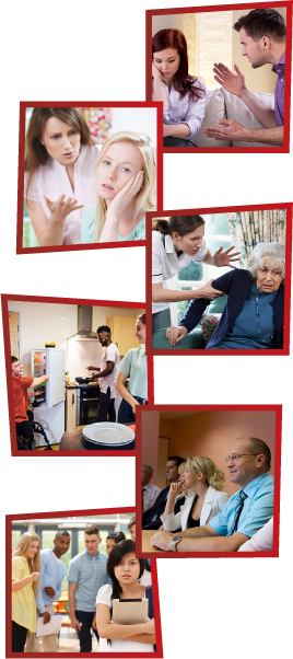 A montage of 6 images. the first is a man getting angry at a woman, who is looking down. The second is a mother yelling at her daughter, who is looking away. The third is a support worker getting frustrated and grabbing an older woman by the arm. The fourth is 3 young people together in a kitchen. The fifth is a group of staff members having a meeting. The sixth is a group of young people laughing and pointing at another girl, who is standing alone.