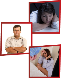 A montage of 3 images. The first is a woman looking sad with her head in her hands. The second is a man frowning with his arms crossed. The third is a woman on the ground, shielding herself while a man clenches his fist in front of her.