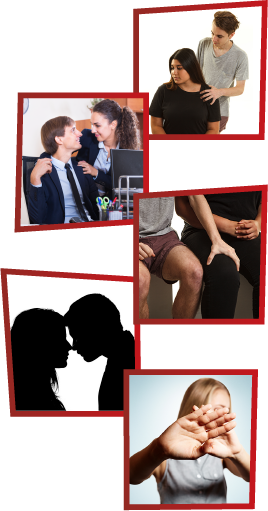 A montage of 5 images. The first is a man putting his hands on a woman's shoulders, who looks uncomfortable. The second is a woman putting her hands on a male co-worker's shoulders. The third is a man putting his hand on a woman's leg. The fourth is an illustration of a man and a woman looking into each other's eyes. The fifth is a woman shielding her eyes and trying to look away.