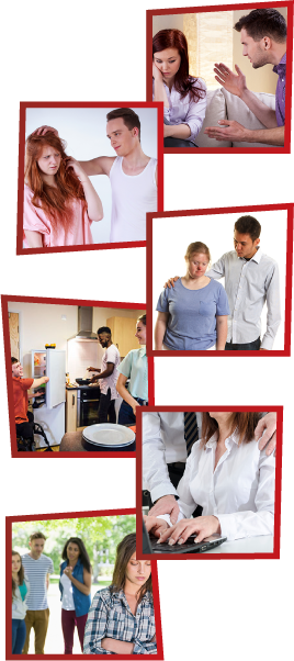 A montage of 6 images. The first is a man yelling at a woman, who is looking down. The second is a man putting his hand on a woman's head, who looks uncomfortable. The third is a woman and her support worker. The fourth is 3 young people together in a kitchen. The fifth is a man putting his hand on a woman's shoulder while she is trying to work on a laptop. The sixth is 3 people standing together and talking while another girl is standing alone, looking down.