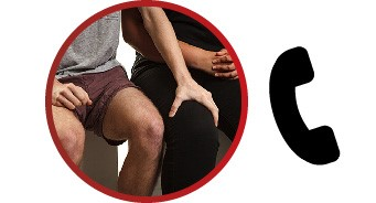 A man putting his hand on a woman's leg. There is a phone icon next to the image.
